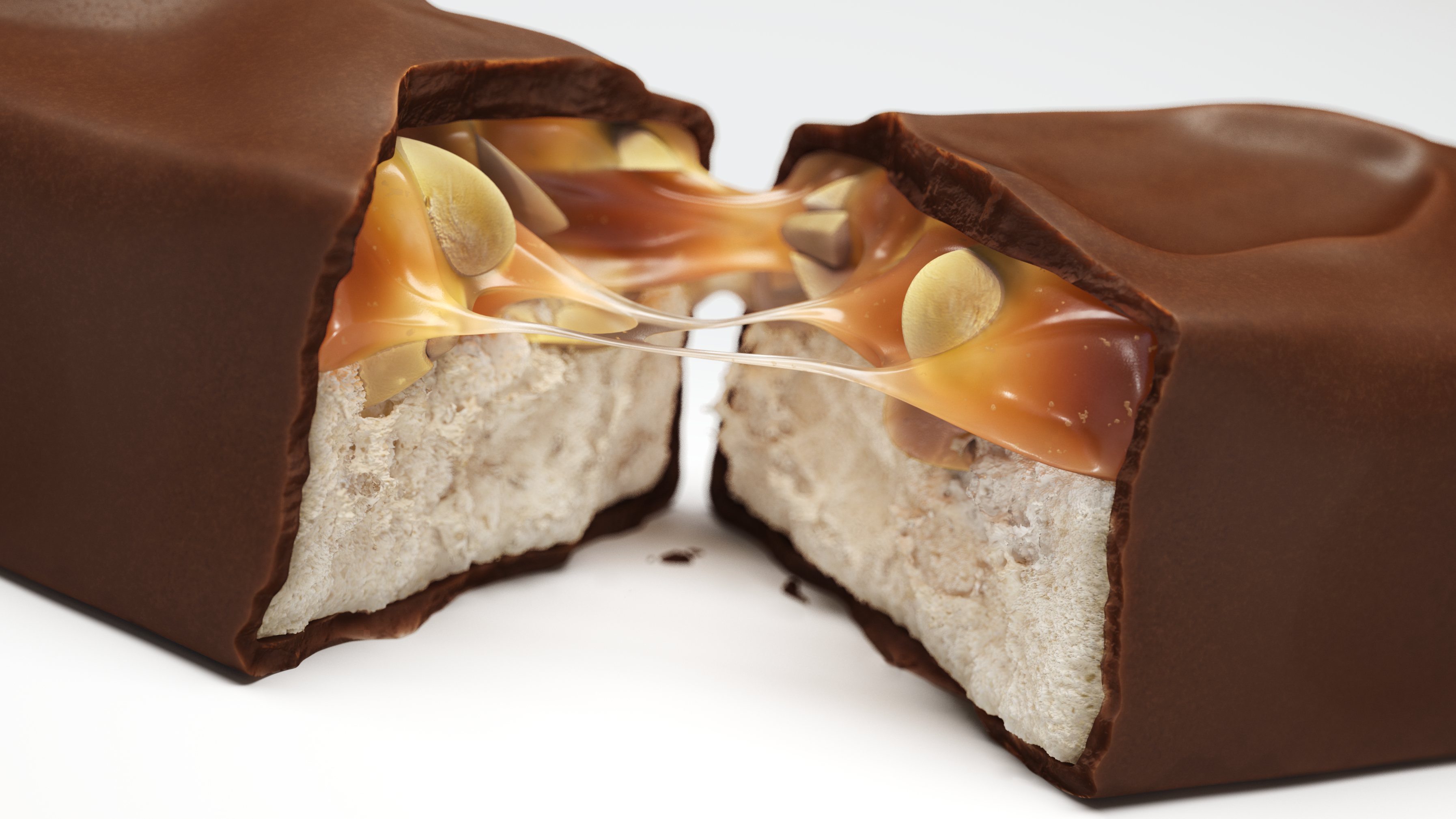 Snickers bar pulled apart