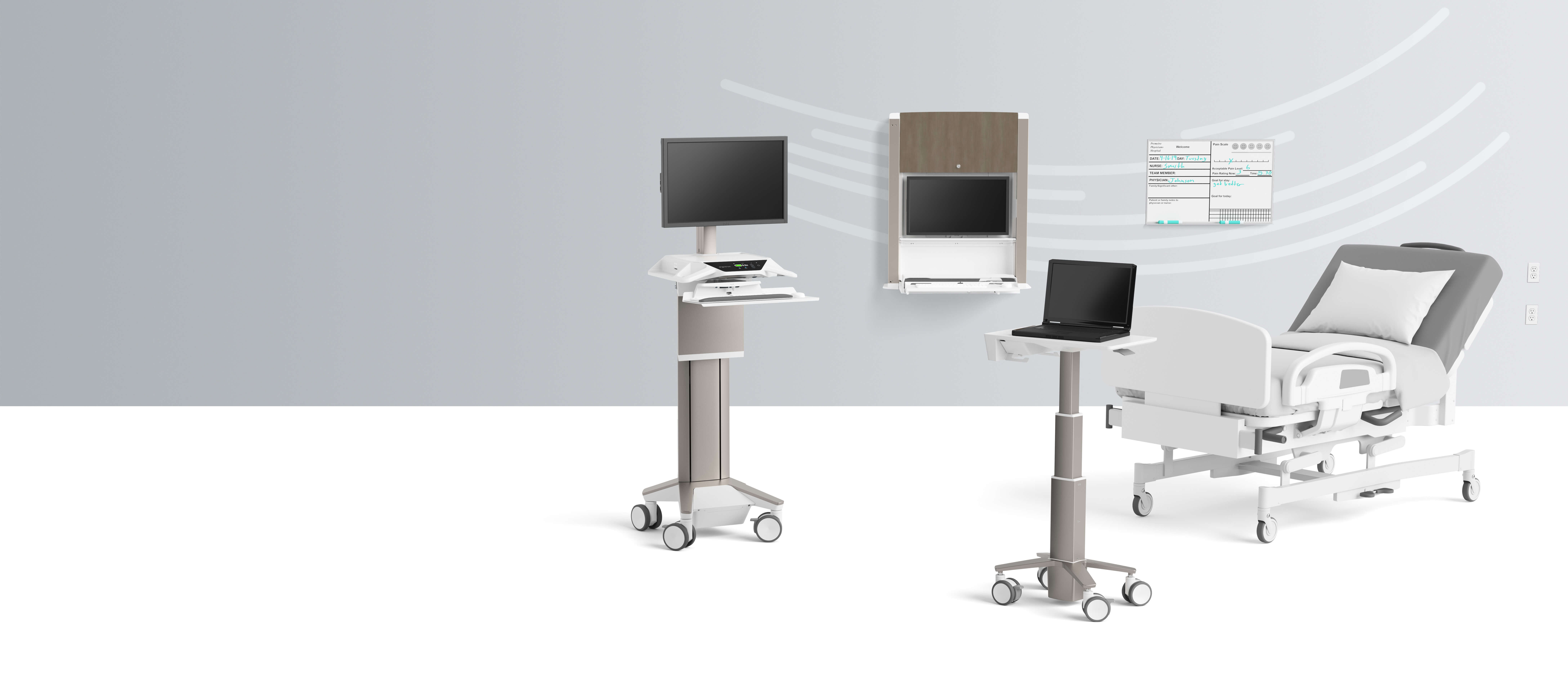 Two desks with hospital bed