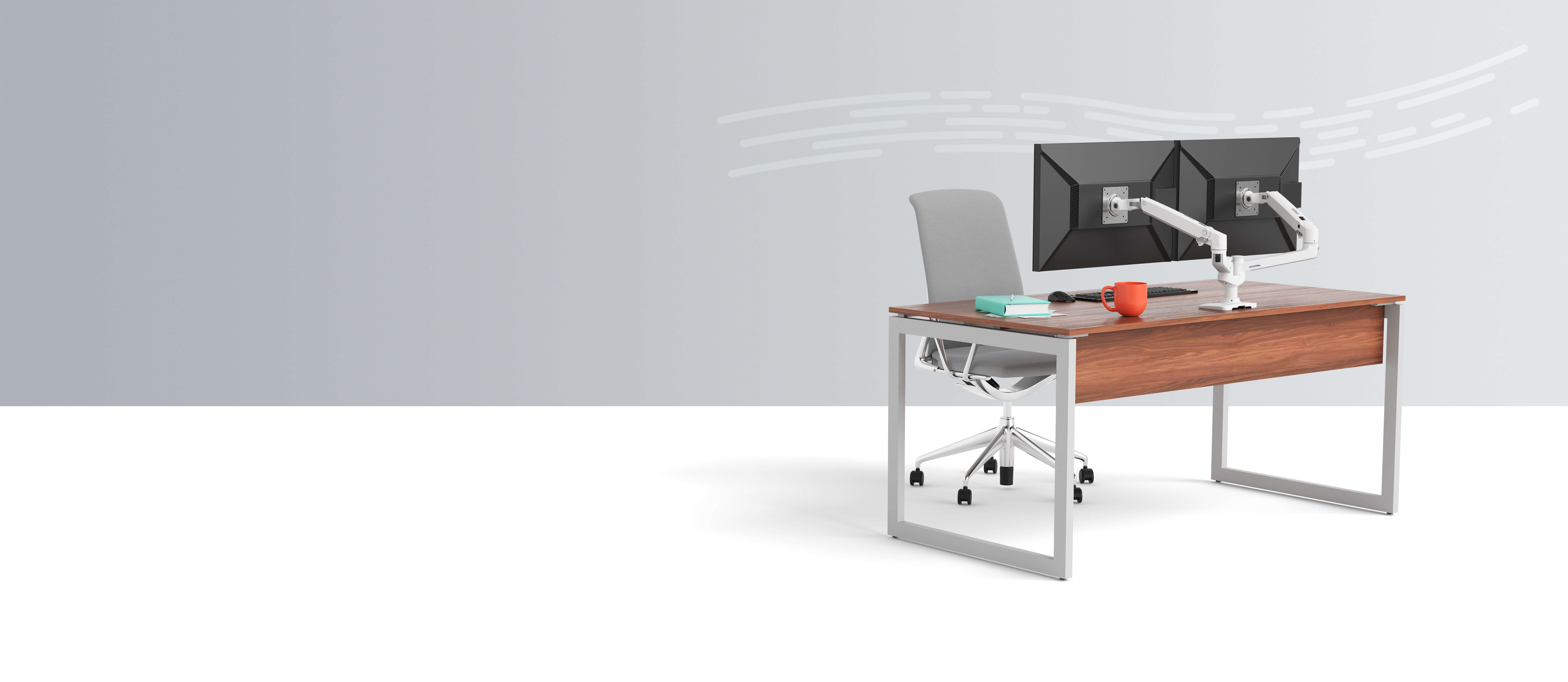 Desk with gray chair