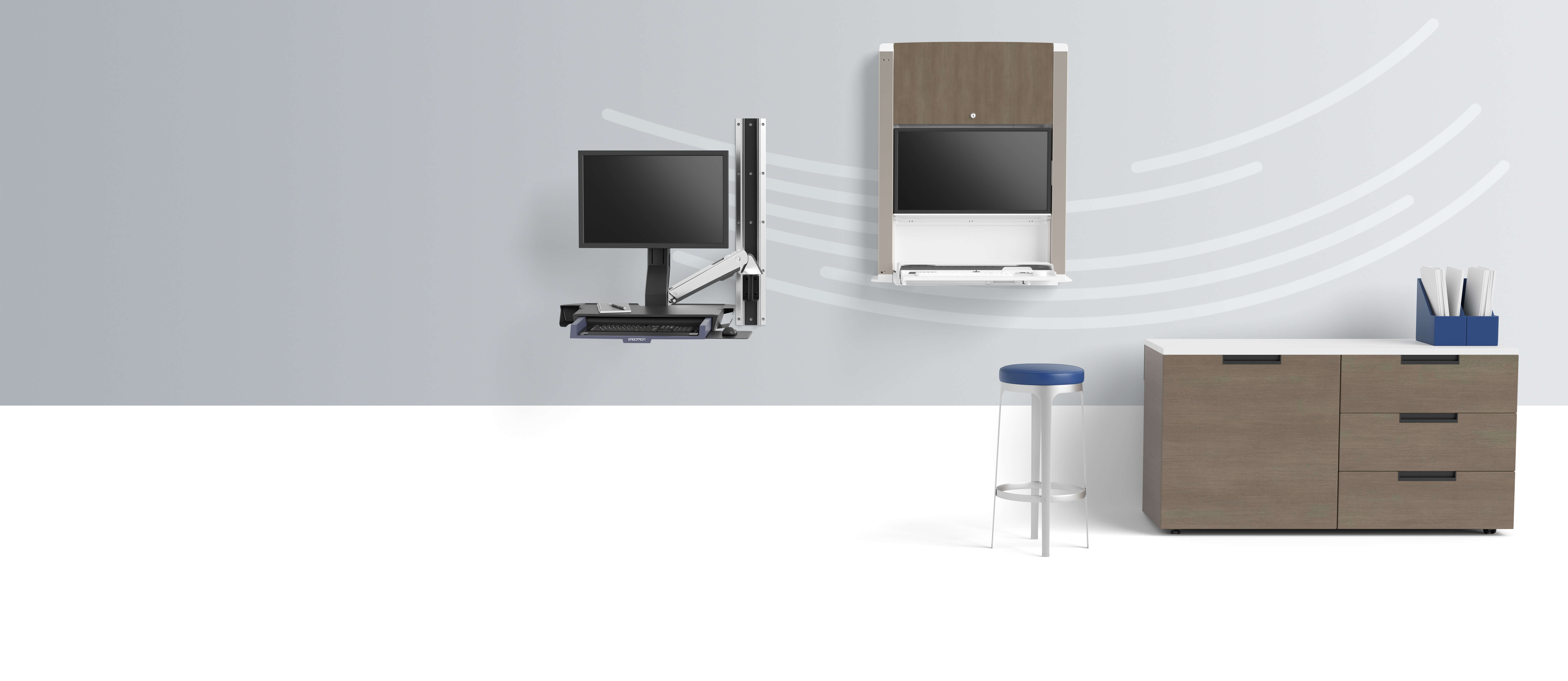 Two desks with stool