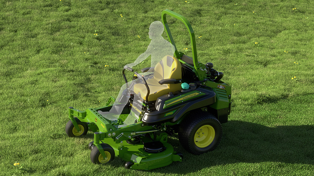 Outline of a person sitting on a green John Deere mower