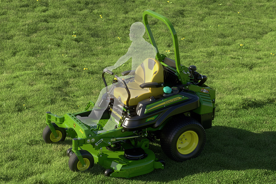Clear figure riding John Deere lawn mower