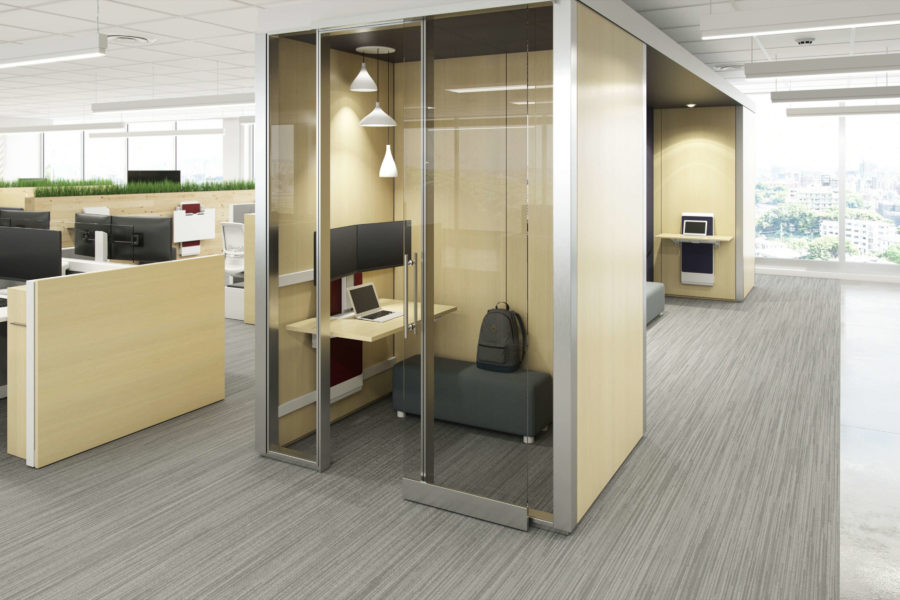 small office rendering with offices alongside and window to the right