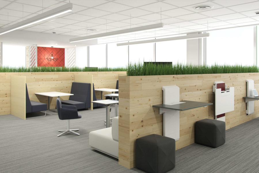 open office layout with wall of windows to the right