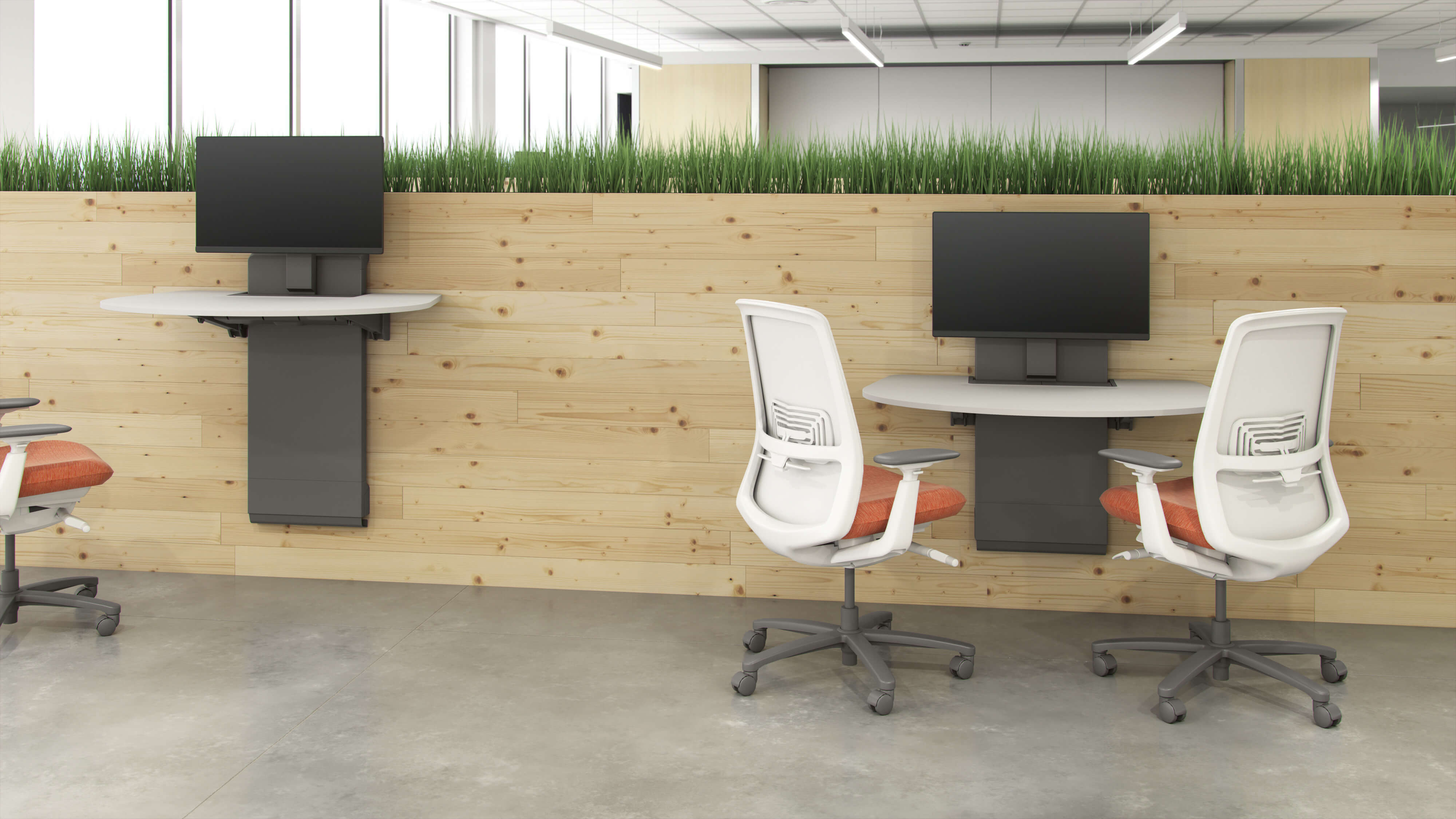 two chairs at a desk in open office layout