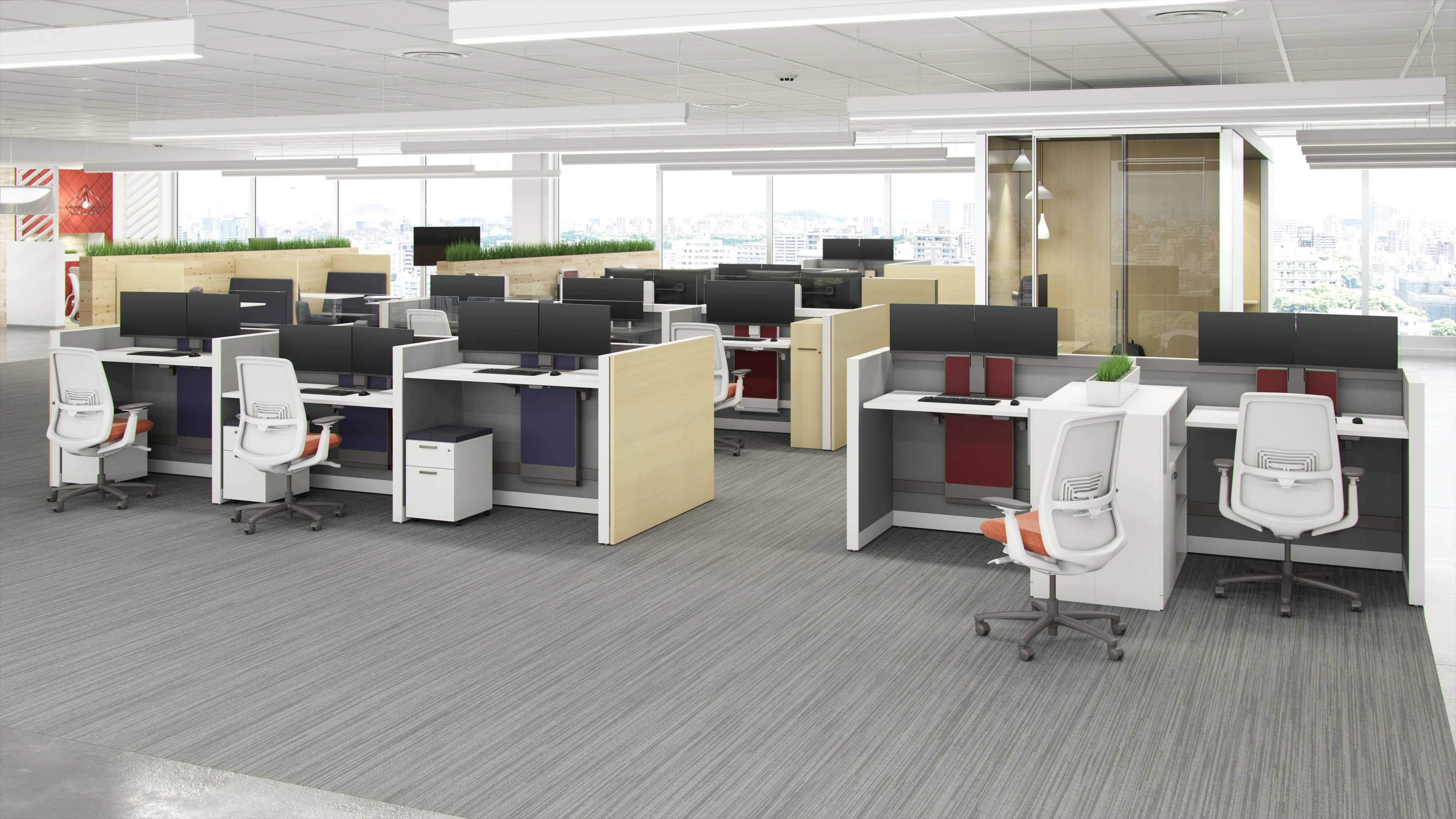 open layout office with desks