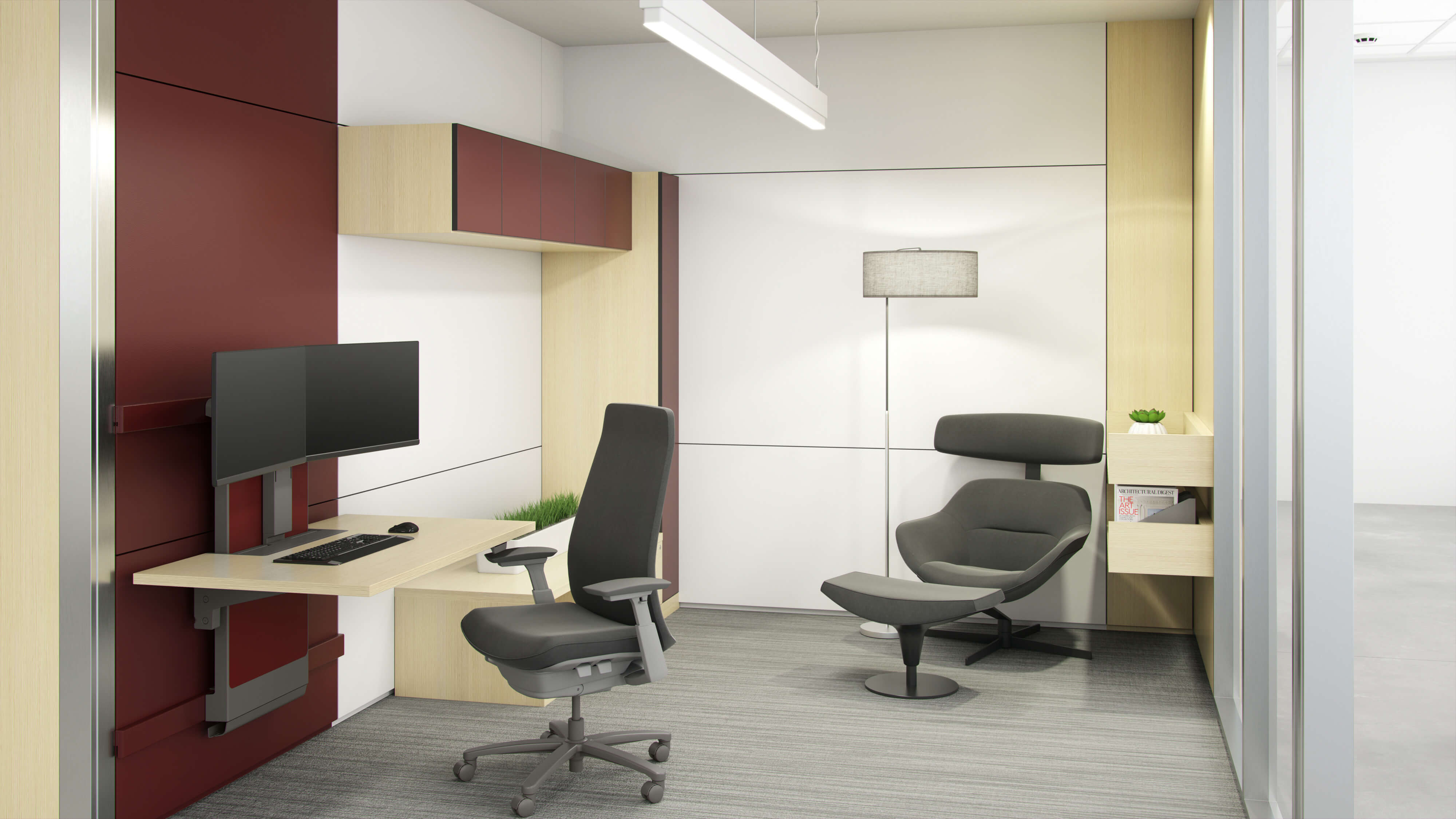 small office with two desk chairs