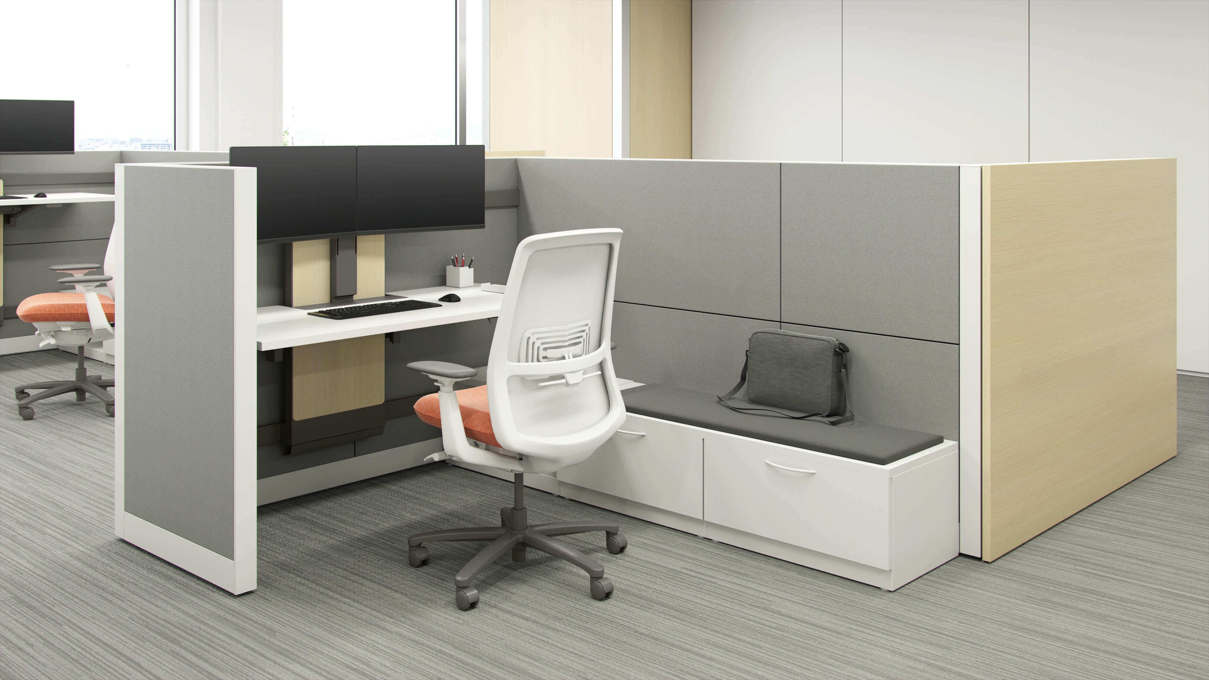cubicle in open office