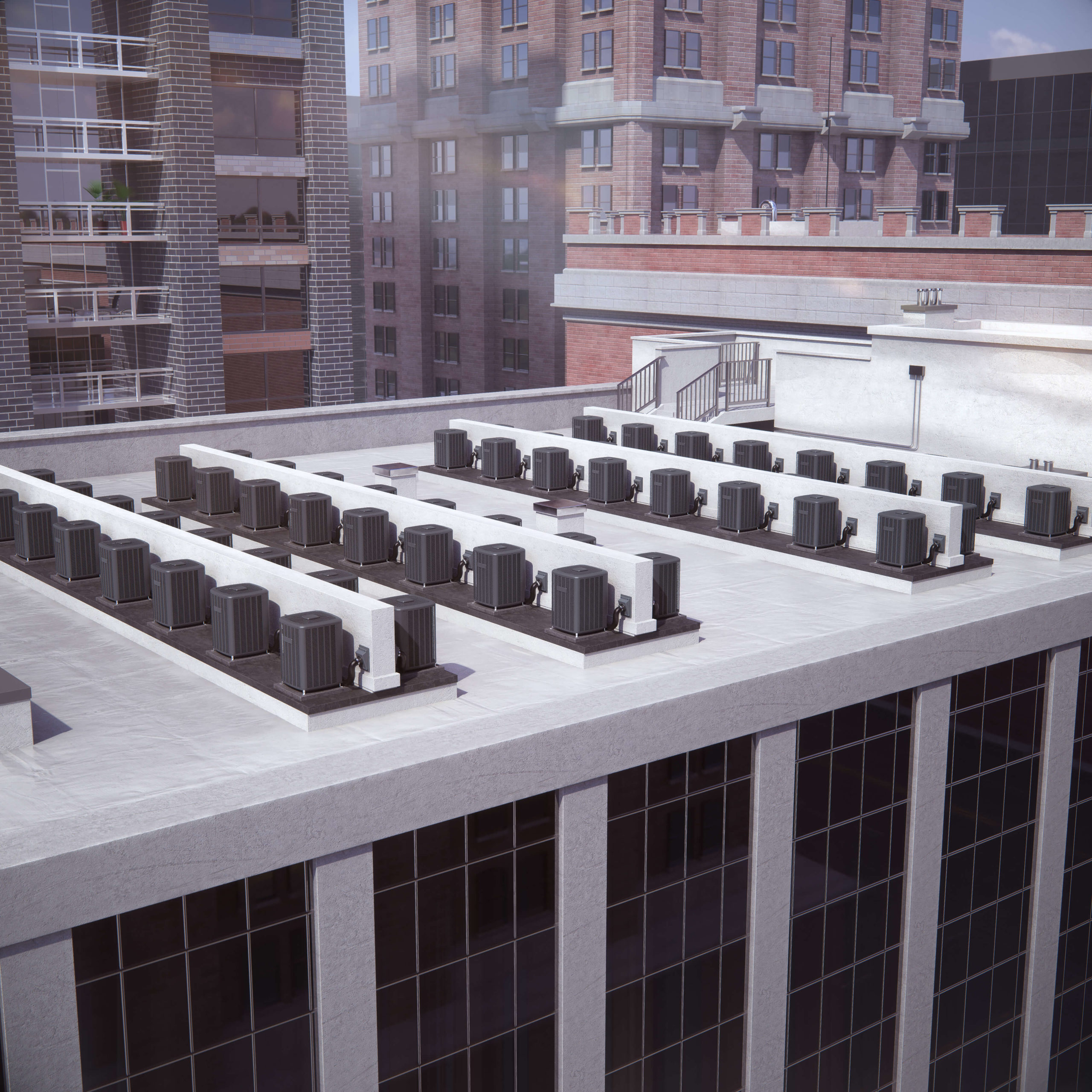 3D air conditioners on urban rooftop
