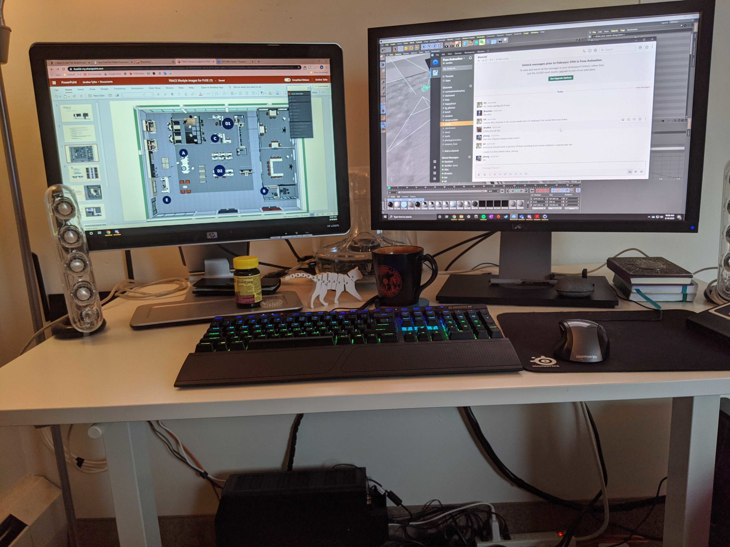 jera's working from home station